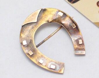 OLD 15k solid gold horseshoe brooch pin horse shoe European vintage fine jewelry Kentucky derby race day