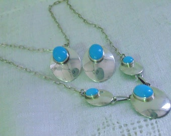 Vintage Sterling Sleeping Beauty Turquoise Necklace and Earrings STC Sterling Jewelry Blue Turquoise Sterling Necklace Set Signed Sterling