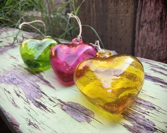 Vintage blown glass hanging heart ornaments for the home from Mexico Christmas decorations