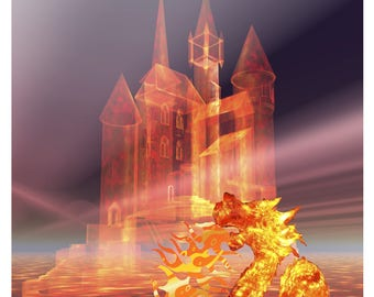 Castle in the Sky and Fire Dragon AA-Digital Clipart-Party-Gift Tags-ClipArt-Art Clip-Banner-Bags-T-Shirt-Website-Notbook-Mouse Pad