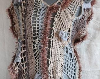 Crochet sweater, Boho Chic Hippie Chunky Cropped Freeform Crochet Vest - Textured Sweater - Hyperbolic crochet - Steampunk - Wearable Art