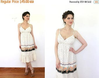 ON SALE 1970s Sundress / 70s Boho Floral Border Print Sun Dress