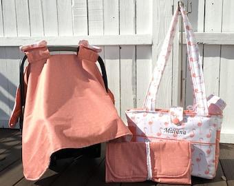Diaper bag set: includes, custom diaperbag, car seat canopy and changing pad, pink flamingo