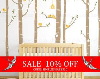 Summer Sale - Birch Tree Wall Decal, Birch Tree Birds Wall Sticker Set, Baby Nursery Wall Decals, Nursery Wall Stickers, Girls Nursery,