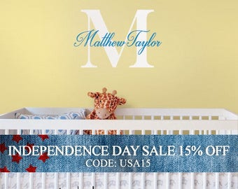 Independence Day Sale - Wall Decal Name Monogram Vinyl Decal Lettering Personalized For Your Child Wall Words