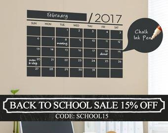 Chalkboard 2017 Wall Calendar - Vinyl Wall Decals - 2017 Calendar