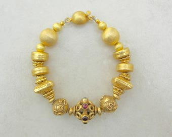 Exclusive Gold & Gemstone Bracelet, Gold Vermeil Beads and Clasp, Garnet Focal Bead, Florentined Gold Beads, Bracelet by SandraDesigns