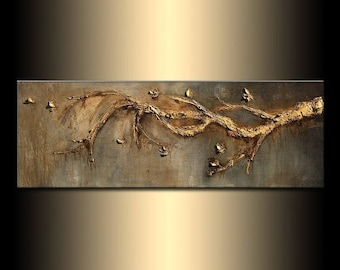 Contemporary Rich Textured Modern Metallic Gold Tree Branch Abstract Painting by Henry Parsinia 48x18
