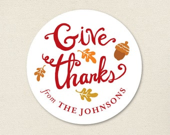 """Thanksgiving Stickers - """"Give Thanks"""" - Sheet of 12 or 24"""