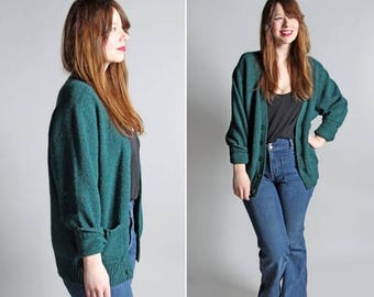 SALE SALE Vintage 1960's Forest Green Wool Sweater Cardigan - Green Men's Men Knit Cozy Warm Button Up Winter Long Sleeve - Size Medium or L