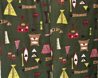 Two vintage mid century modern barkcloth drapery curtain panels, atomic abstract Eames era!