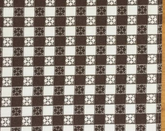 Vintage Brown Checkered Tablecloth ~ Table Cloth Autumn