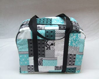 Sizzix Big Shot Carrying Case  / Die Cut Machine Tote / Sizzix Big Shot Tote /  Big Shot Bag / Teal, black,gray Patchwork Fabric