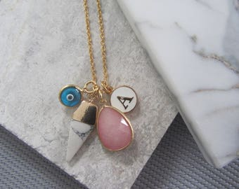 Charm Necklace,Gold Star,Marble Triangle,Evil Eye Necklace,Initial Letter,Pink Gemstone and Initial Necklace,Bridesmaids Gifts,Gifts for Her