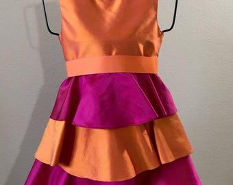 Formal Occasion Flower Girl Fuschia and Orange Silk Little Girl Dress Size 5 6 6X