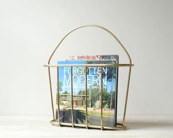 Brass Magazine Rack, Metal Basket