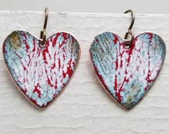Enameled One of a Kind Valentine Heart Earrings