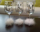 5 Initial Decals for DIY Wine Glass kit * Great for Weddings Parties GNO * Vinyl Letters and Polka Dots * DIY Project * Save Money *