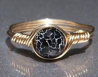 25% Off Sale Black & White Effloresce Web Agate14k Yellow Gold Filled Wire Wrapped Ring Custom Sized