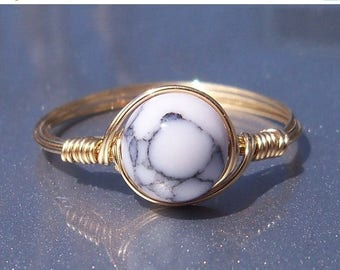 25% Off Sale LG White Howlite 14k Yellow Gold Filled Wire Wrapped Ring