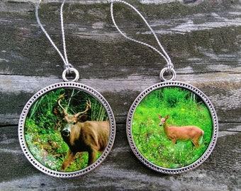 Buck & Doe Maine White Tail Deer Photo Ornaments, Original photo, Hunter Gift, Nature Lover, Rustic, Woodland Ornament Set