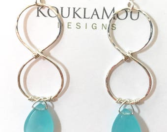 Sterling silver and glass infinity earrings