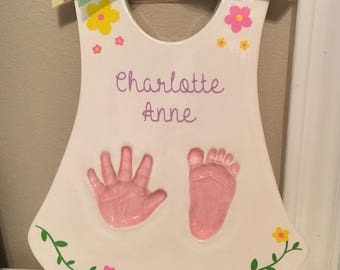 Personalized Baby Hand Prints - Heirloom Handprint Keepsake - Baby Handmade Handprint Art - Baby Keepsake Print Art - Baby Girl Keepsake