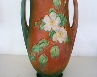 "Roseville White Rose Pottery Vase, 992 15"", Circa 1940s"