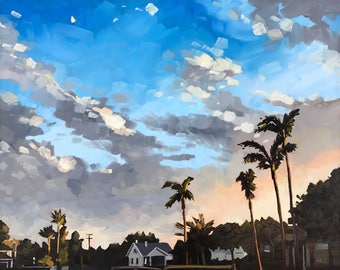 California Oil Painting -  16x20 - Sunset and Palm Trees by Sharon Schock