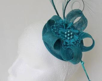 Teal Petrol Blue Curl Feather Sinamay Loop & Pearl Percher Wedding Fascinator Mini Hat - Made to Order