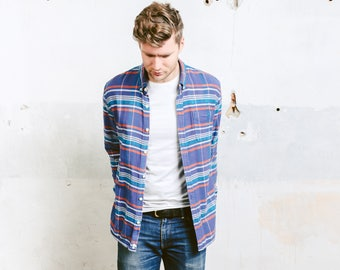 Men Striped Thick Shirt . Vintage 90s Grunge Plaid Jacket Men's Flannel Lumberjack Shirt Jacket Oversized Boyfriend Shirt . size Large