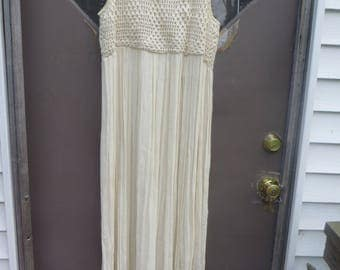 vtg   womens  boho     off  white  cotton  indie   gauze crochet top maxi   indie  dress     SMALL