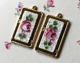 Vintage Guilloche Charms,Enameled Charms,Floral Charms,Enamel roses, Shabby chic Charms, enameled flowers, rectangle charms #1240B