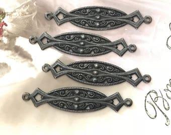4 Antiqued black Connectors, Black Noir, Filigree Connectors, Victorian Connectors, Matte Black Findings, William Morris Design, USA #B185C