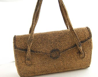 1950s Bronze Beaded Handbag - 50s Brown Beaded Evening - 40s Vintage Beaded Bag - Made in Japan