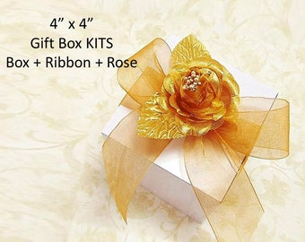 "15 Wedding Party 4"" x 4"" Gift Box KITS with Ribbon + Satin Rose + Box  - Glossy White Boxes, for Mugs, Soaps, Jewelry, Candles, Ornaments"