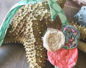 Headwrap Headband // Light Turquoise and Triple Pink Matching Rose // Fabric Headband