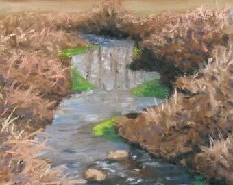 "Winter landscape, plein air painting, original oil, 8"" x 10"""