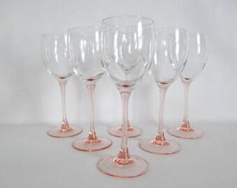 Luminarc France Large White Wine Pink Stems Set of 6 Stemware Glasses