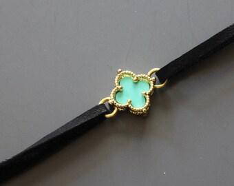 Turquoise Flower Choker - Clover Choker Pendant - Teen Choker Necklace - Girls Choker Necklace -  Quatrefoil Necklace - Celebrity Inspired