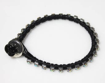 Rhinestone Chain Bracelet, Leather Bracelet,  Friendship Bracelet, Teen Bracelet, Clear Rhinestones, Everyday Bracelet, Sparkly Bracelet