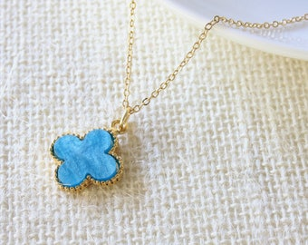 Turquoise Flower Necklace - Gold Filled Necklace - Blue Flower Necklace - Celebrity Inspired - Everyday Jewelry - Blue Quatrefoil Necklace
