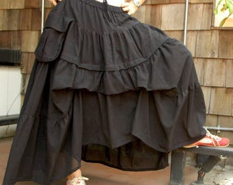 Take Me to Your Heart...Steampunk Short Front/ Long back Tiered Black Light Cotton Skirt With 2 Roomy Pockets