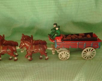 Cast Iron Wagon and Clydesdale Horses, Wooden Barrels, Budweiser or Similar Vintage Toy or Decor