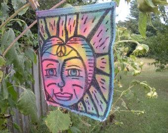Solar Eclipse Of The Heart 2, Energy Art, Solar Eclipse 2017, Peace Love Art, Peace Flag, Boho, Hippie Art, Yoga, Feng Shui