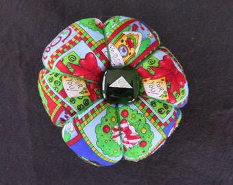 Christmas Large Pincushion with Glass Button