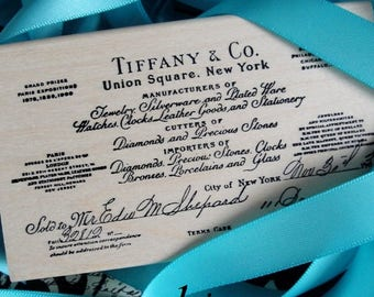 DESTASH Tiffany & Co Rubber Stamp Lot. Brand New Never Used. Large Wooden Block Size. Robin's Egg Blue Ribbon. Scrapbooking Crafting Wedding