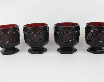 Avon Cape Cod Ruby Red Footed Glasses Tumblers Goblets (4)