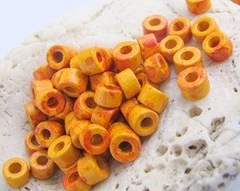 25%OFF 30 Mykonos Greek Ceramic Mini Tube Beads speckled orange yellow 6X4mm Mykonos Beads Spring Sewing scrapbooking supplies Diy