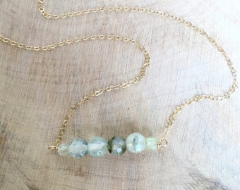 Prehnite Bar Necklace. Gold Filled Chain.
